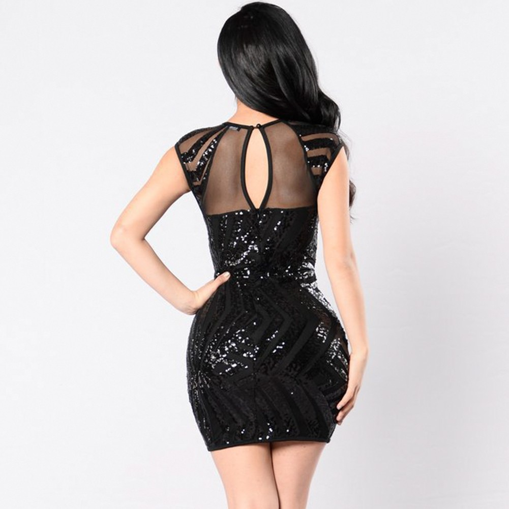 Black Round Neck Sleeveless Mini See Through Sequins Decorated Party Bodycon Dress SN067-Black