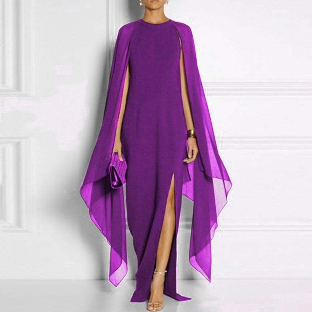Purple Turtle Neck Long Sleeve Maxi Meshed Pagoda Sleeve Amazing Bodycon Dress SN070-Purple