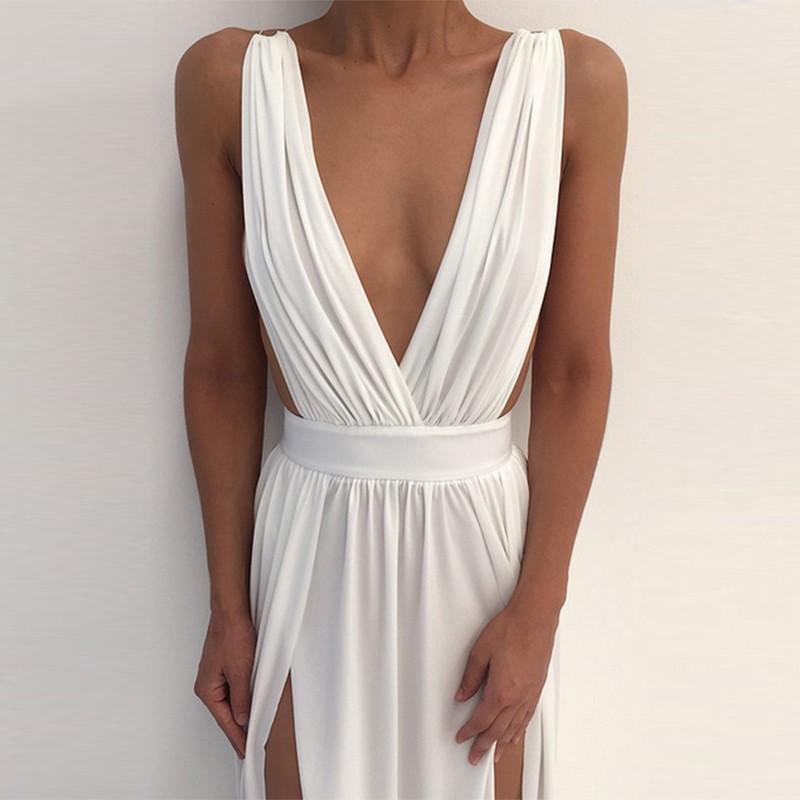 White V Neck Sleeveless Maxi Backless Slitted Fashion Bodycon Dress SN074-White