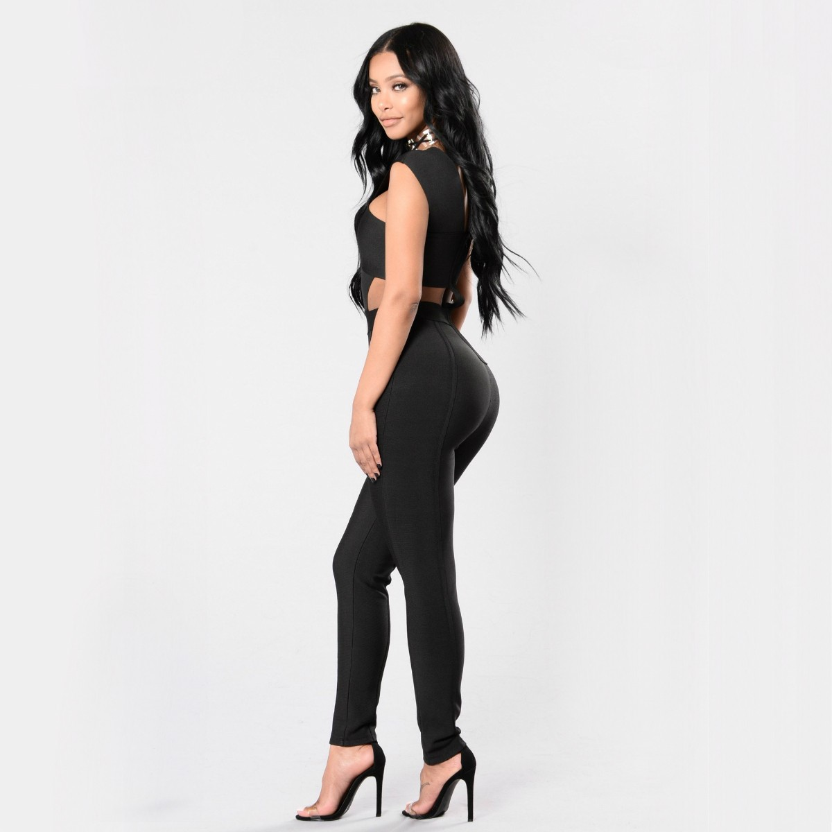 Strapy Sleeveless Crossover Front Cut Out Black High Quality Bandage Jumpsuits SP008-Black