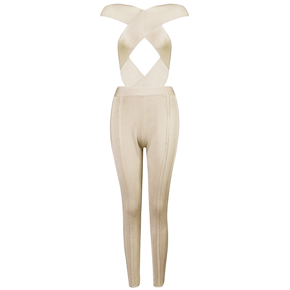 Strapy Sleeveless Crossover Front Cut Out Nude High Quality Bandage Jumpsuits Sp008-Nude
