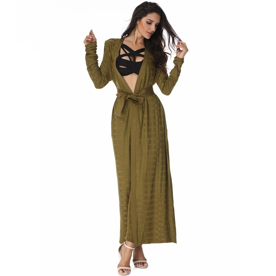 V Neck Army Green Longsleeve Maxi Top Quality Bandage Ponchos SP020-Army Green-Ponchos