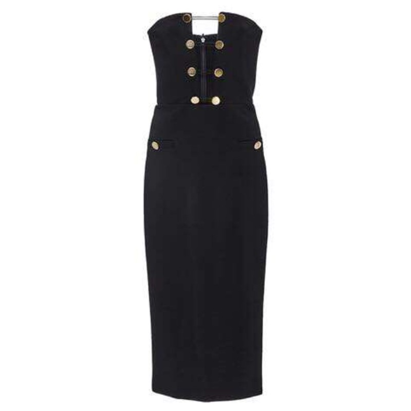 Top Quality Strapless Sleeveless Over Knee Black Breast Cut Out Button Sewed Bodycon Dress