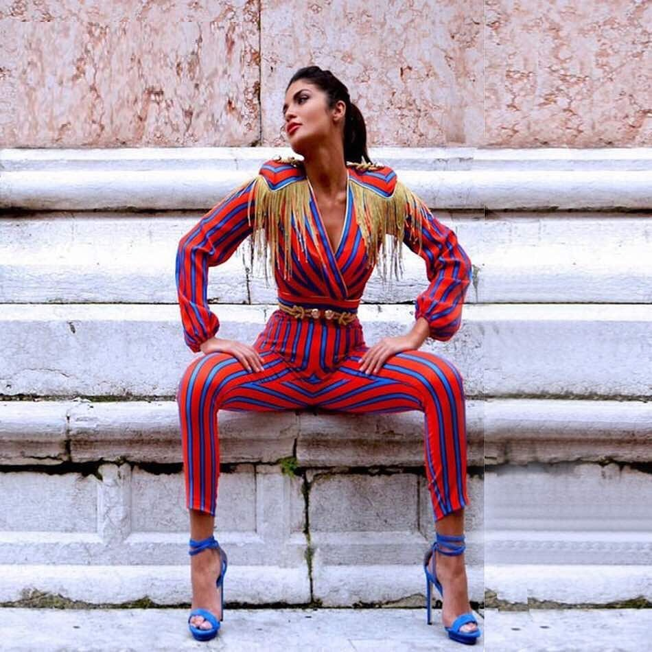 Red V Neck Long Sleeve Maxi Tassel Vertical Stripe Party Bodycon Jumpsuits SP0277-Red