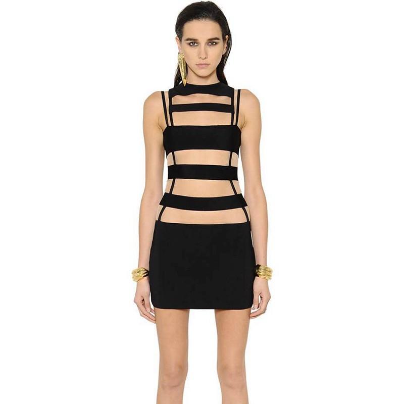 Black Round Neck Sleeveless One Piece Mini Striped Fashion Bodycon Dress SP044-Black