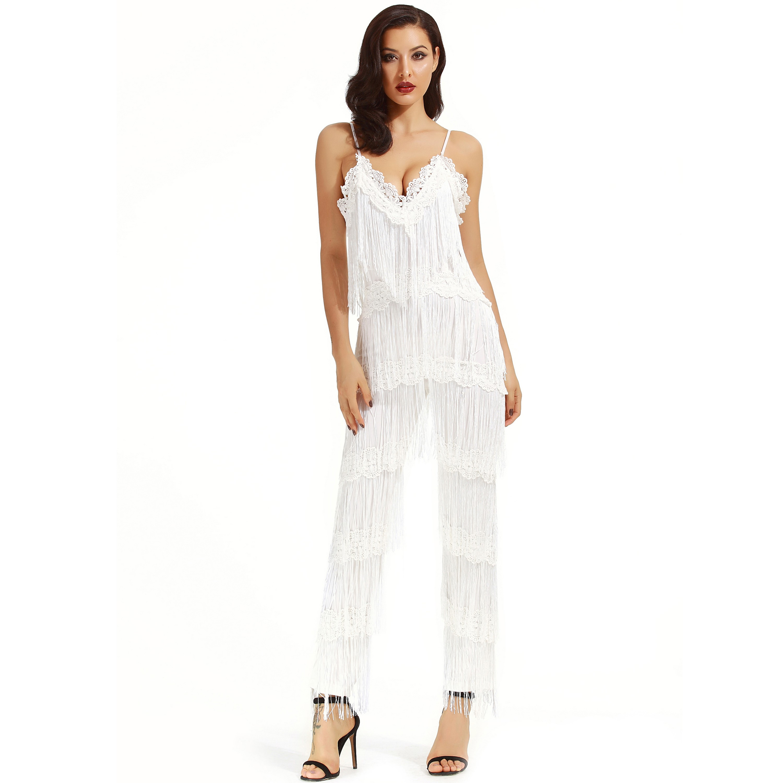 White Strapy Sleeveless Maxi Tassels Fashion Jumpsuits SP048-White