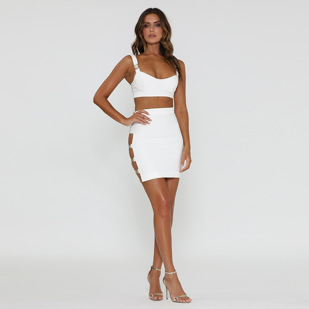 White Strappy Sleeveless 2 Piece Metal Embellished Side Cut Out Evening Bandage Set SP058-White