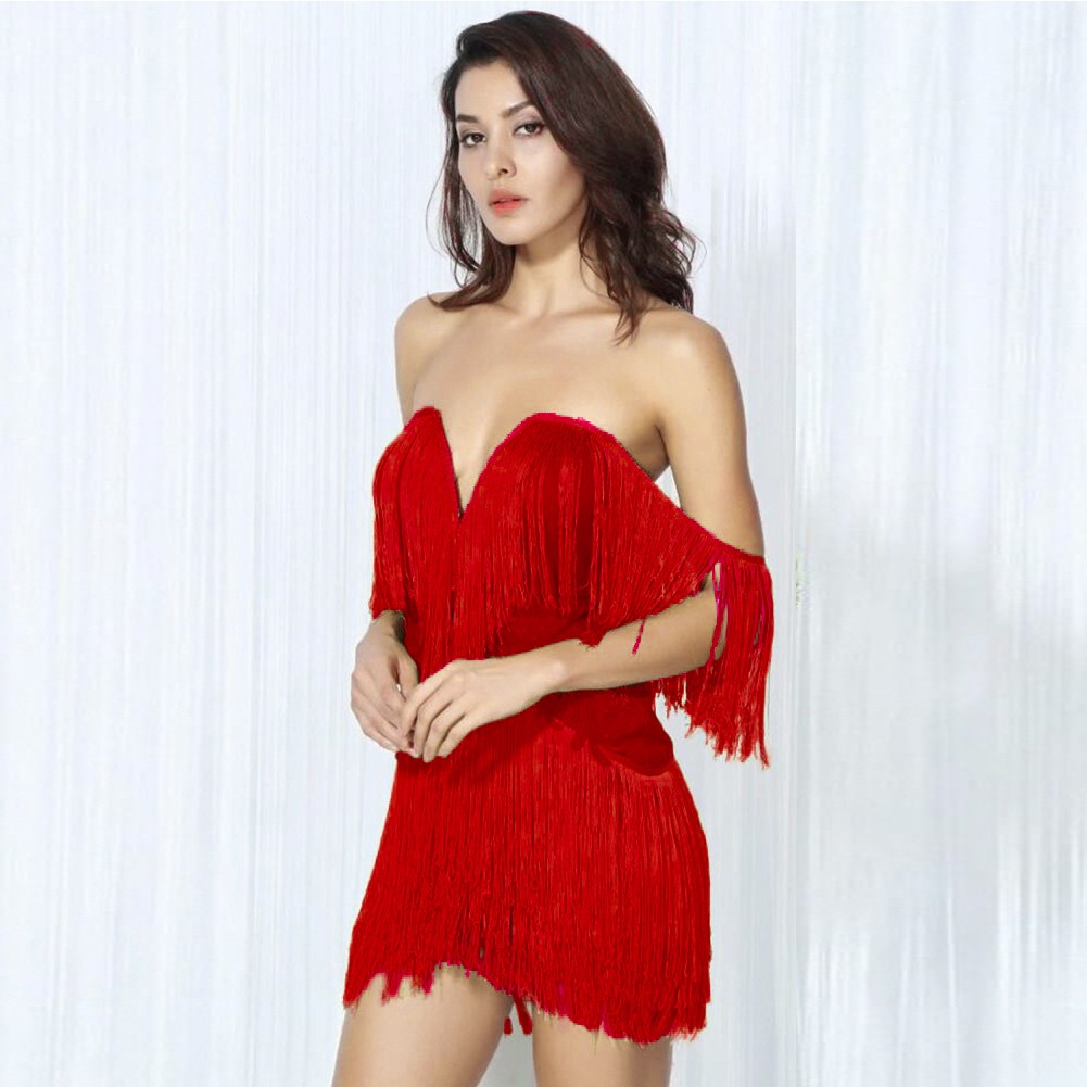 Rayon - Red Off Shoulder Sleeveless Mini Tassels Fashion Bandage Dress SW010-Red