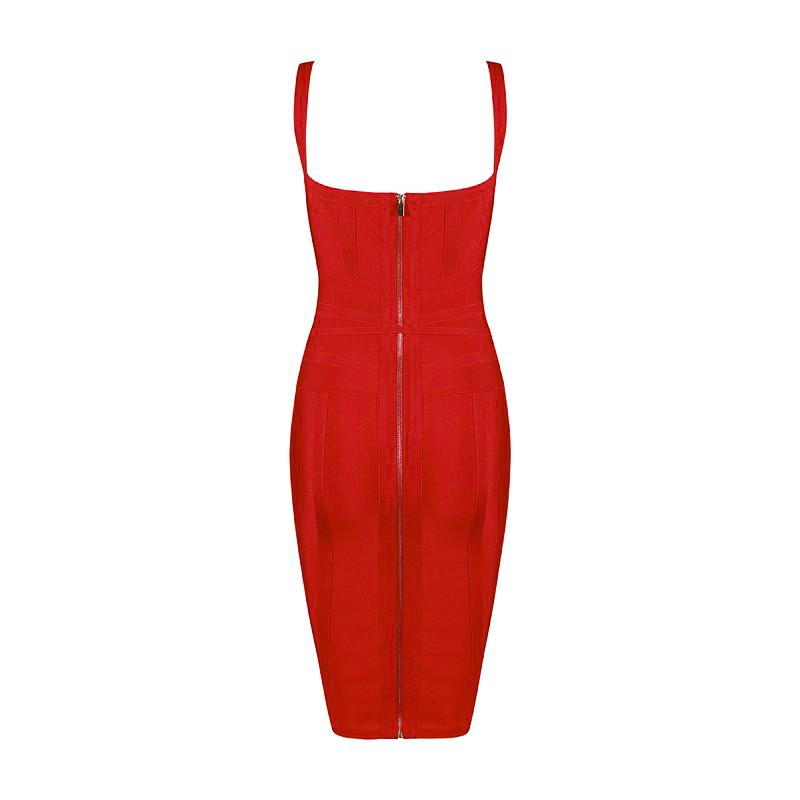 Rayon - Red Strapy Sleeveless One Piece Tie Bandage Dress SW012-Red