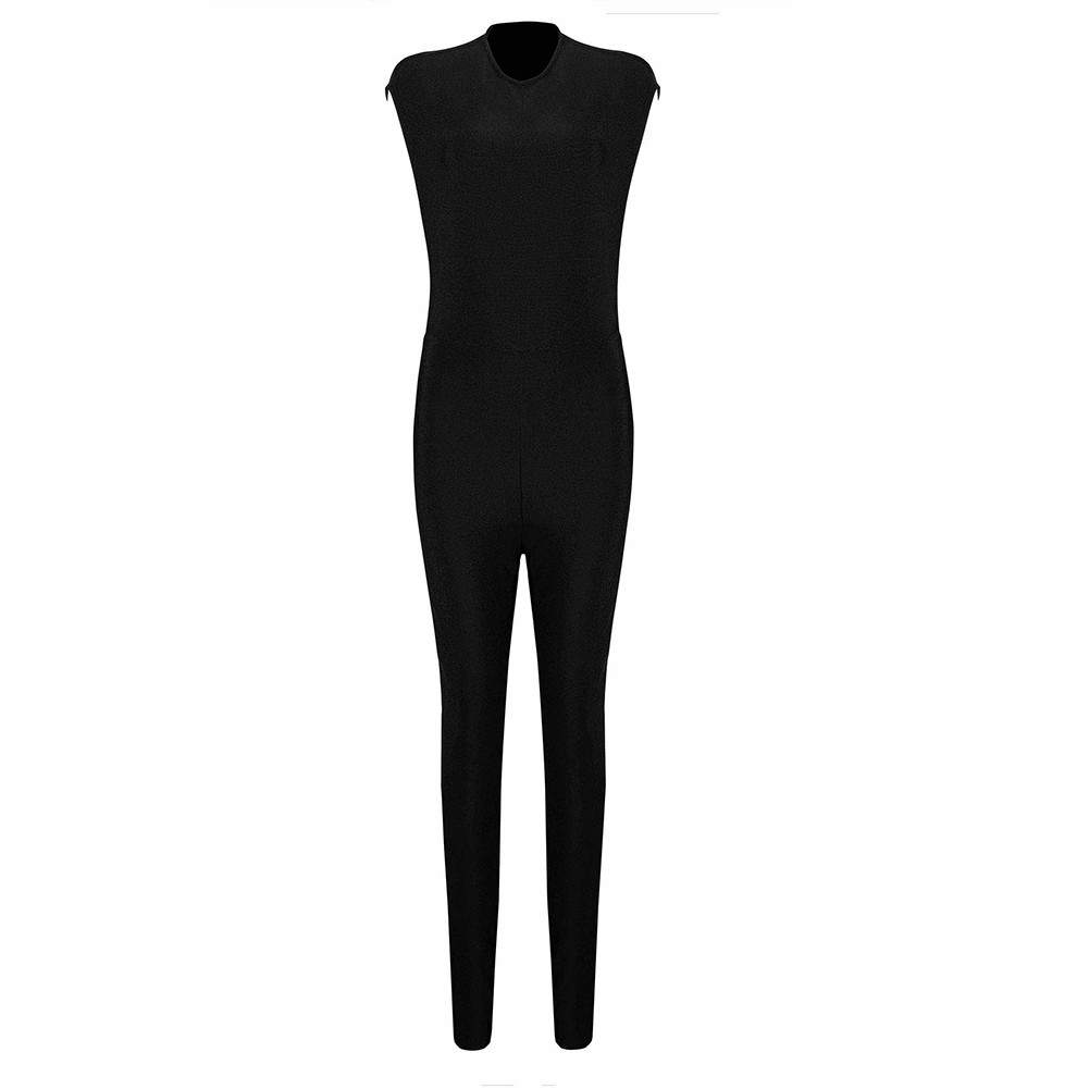 Rayon - Black Round Neck Sleeveless Maxi Backless Pearl Beaded Complicated Bodycon Jumpsuit SW026-Black