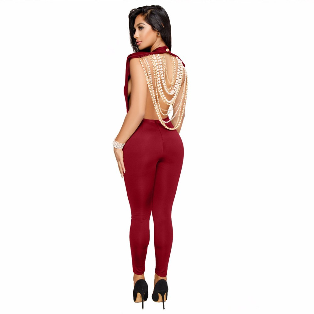 Rayon - Red Round Neck Sleeveless Maxi Backless Pearl Beaded Complicated Bodycon Jumpsuit SW026-Red