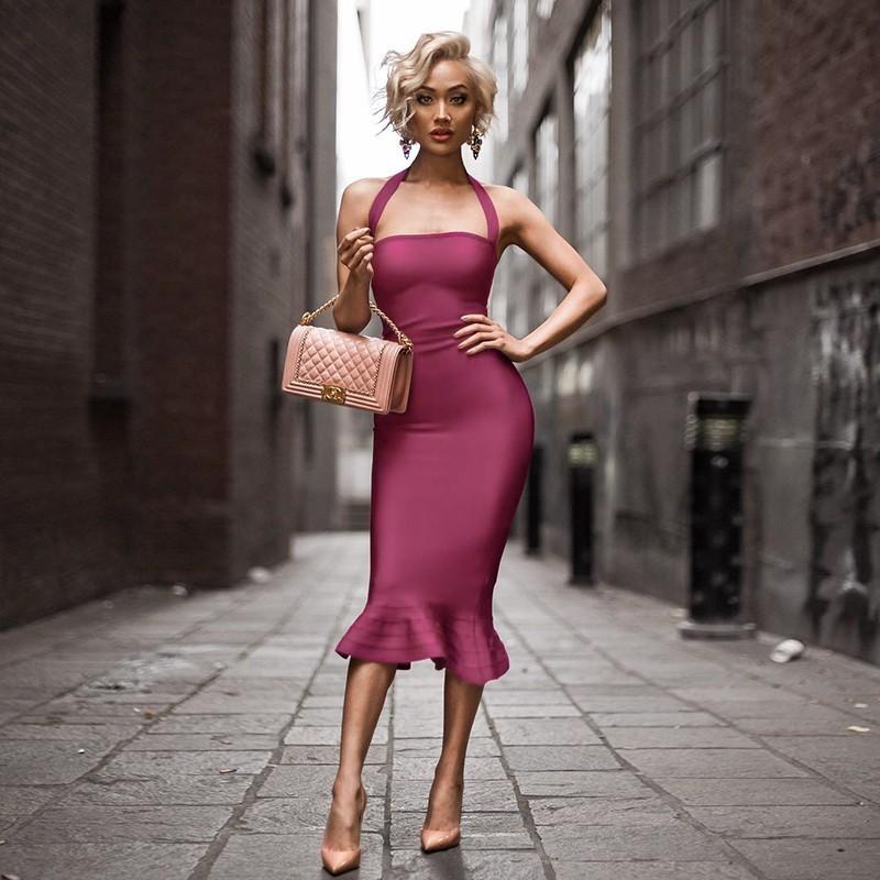 Rayon - Evening Halter Sleeveless Over Knee Wine Mermaid Bandage Dress