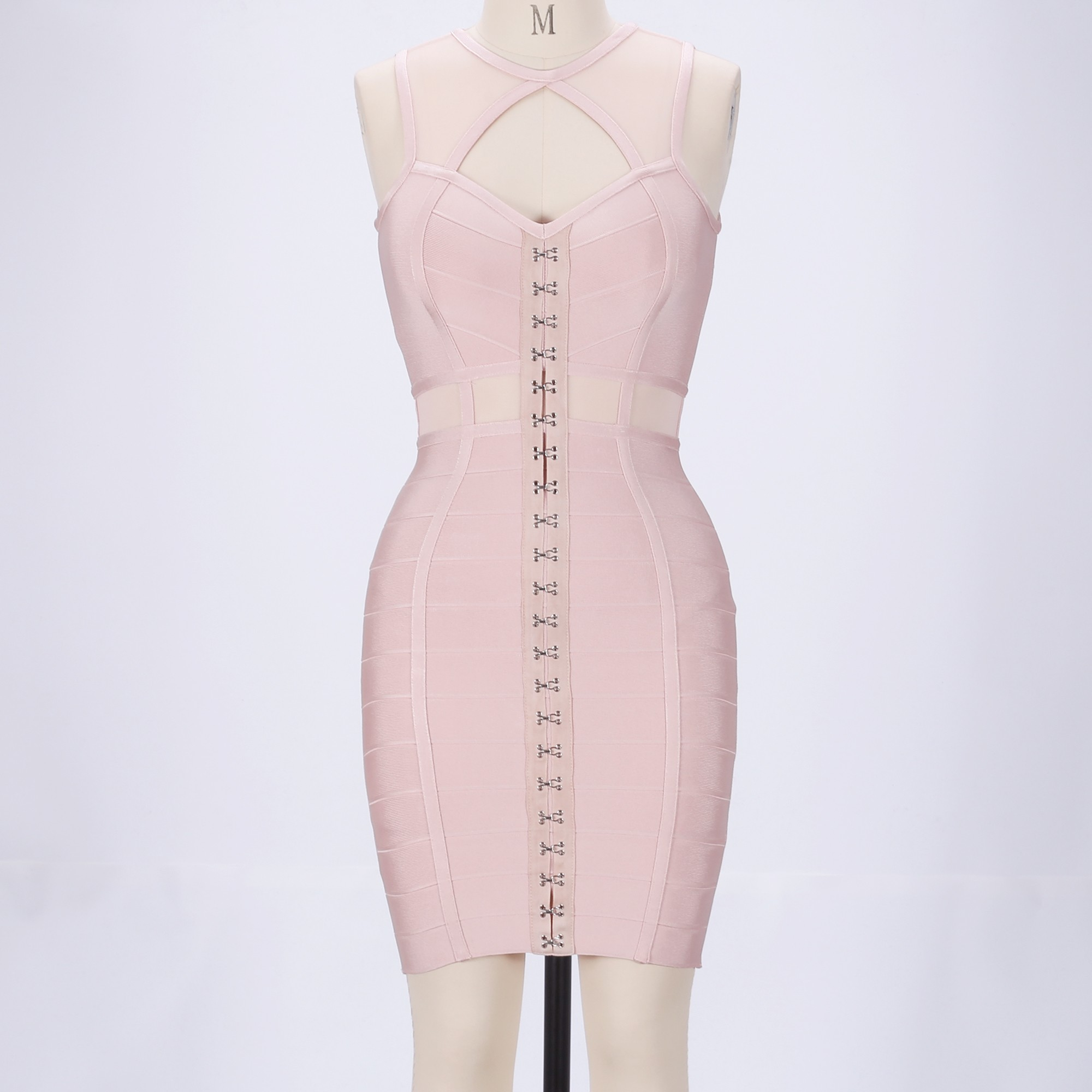 Rayon - Nude Round Neck Sleeveless Mini Mesh Cut Out Party Bandage Dress HJ457-Nude